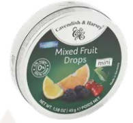 Fruits flavored candy with an artificial sweetener
