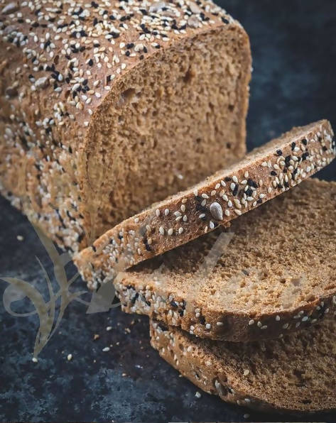 Brown toast with various grains