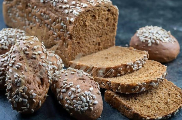 Assortment of rye bread with sunflower seeds