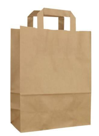 Brown kraft paper bag with flat handle (40cm) 160 bags in carton - fooodi