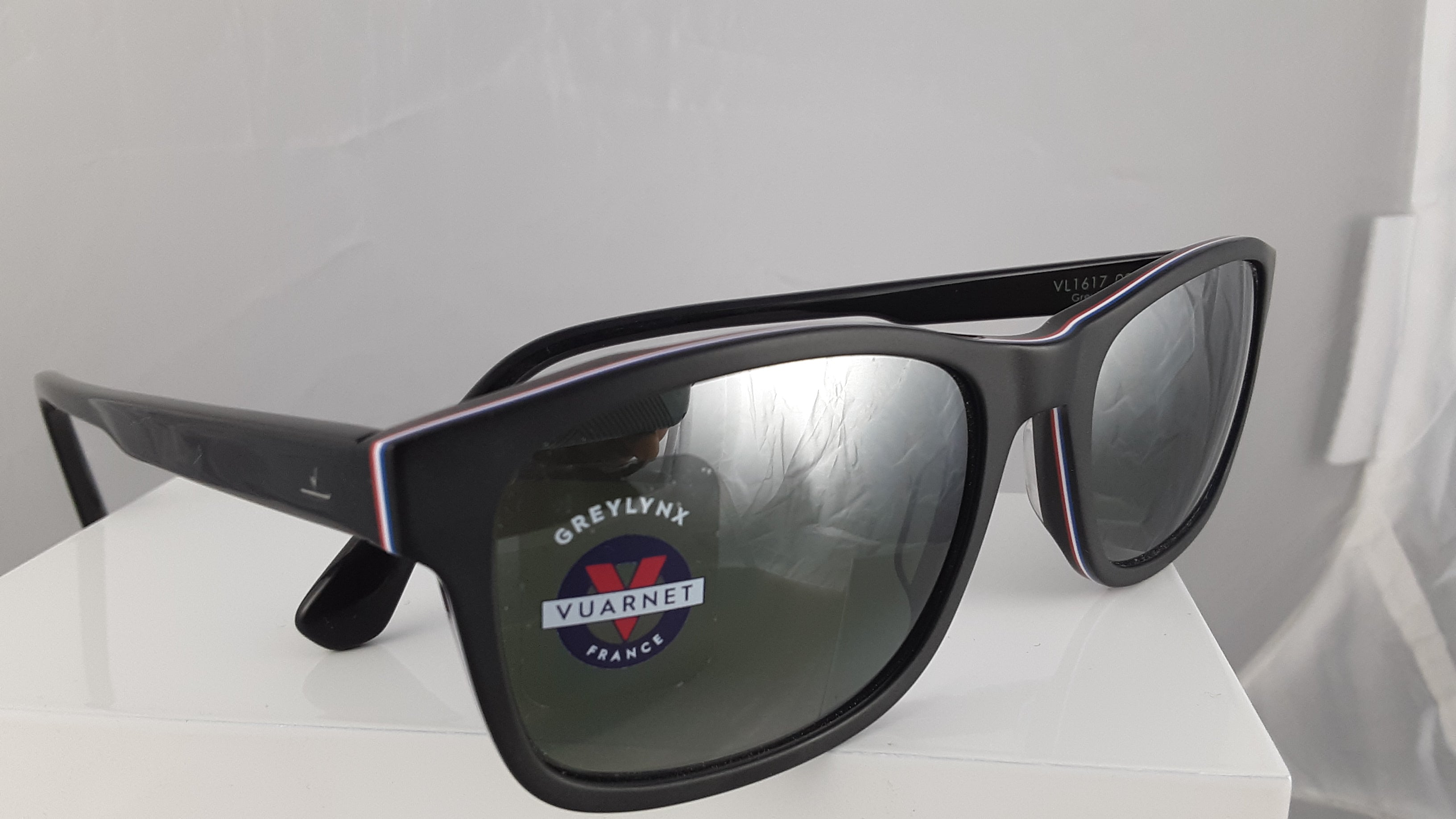 Vuarnet Greylynx black sunglasses with red white and blue stripe