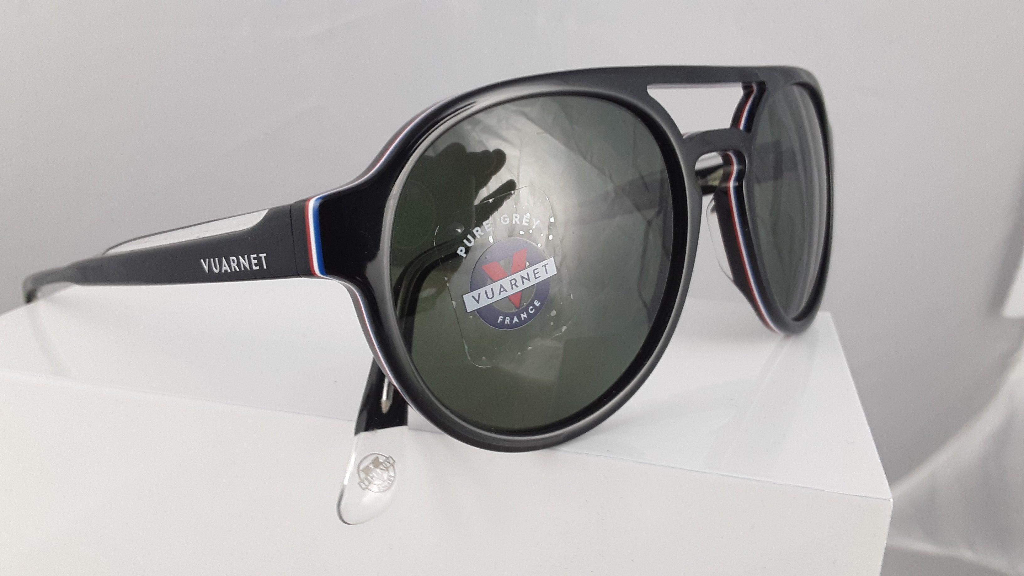 Vuarnet pure grey aviator style sunglasses with red white and blue stripe
