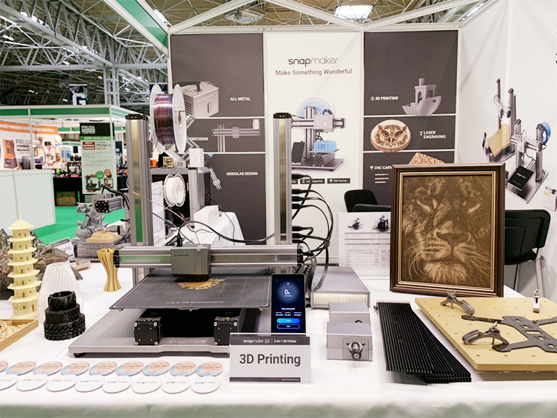 Both Generations of Snapmaker 3-in-1 3D Printers were at the UK TCT Show