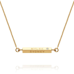 Personalised diamond 4 sided spinning bar necklace