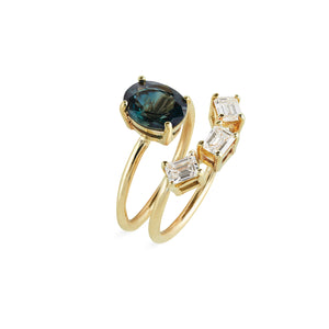 Teal Sapphire Oval Solitaire Ring