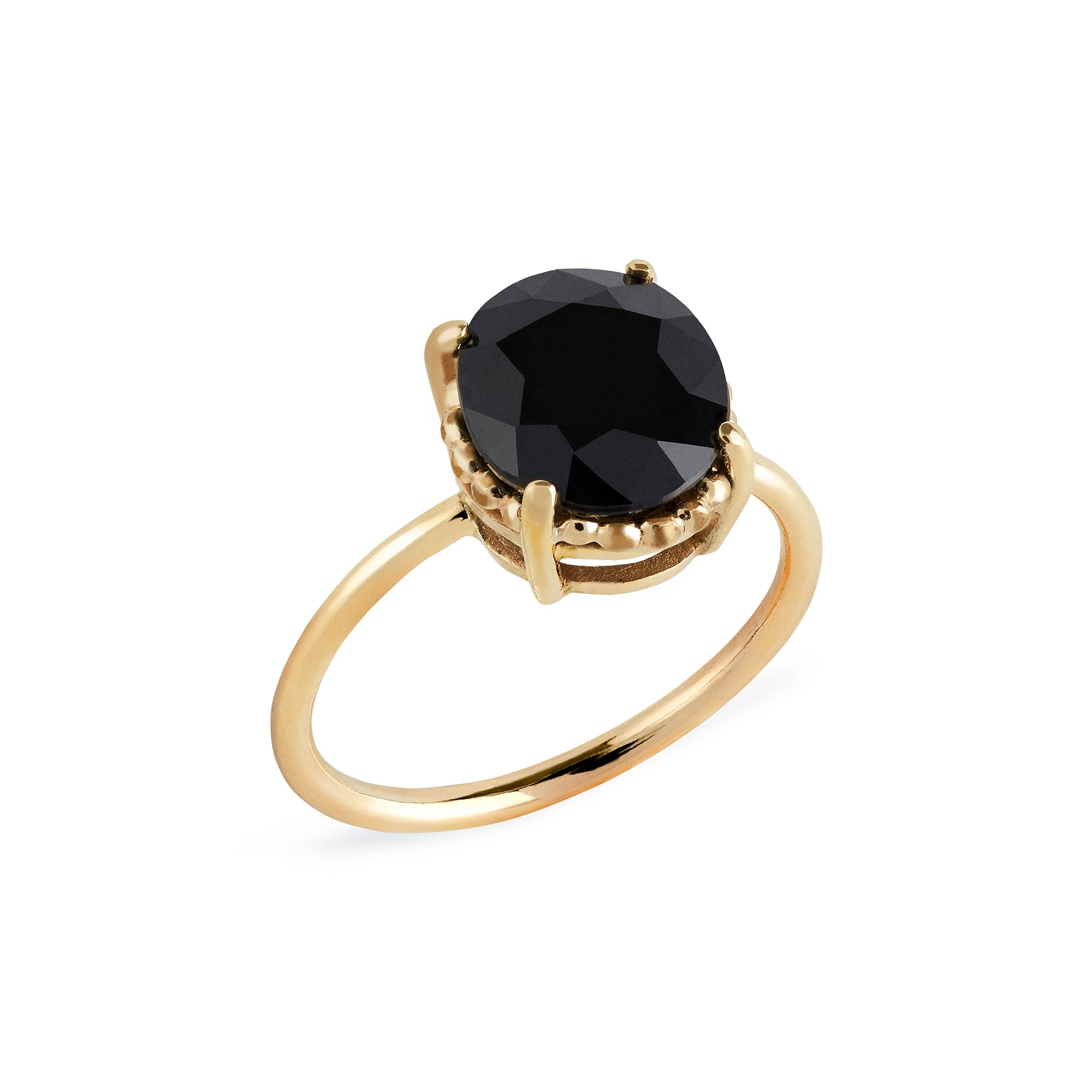 Black Sapphire Oval Beaded Solitaire