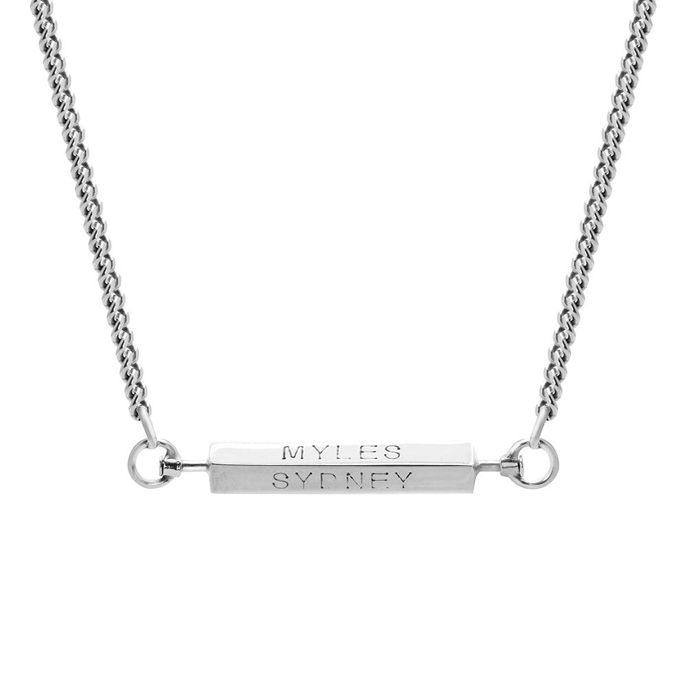 MEN'S PERSONALISED 4 SIDED SPINNING BAR NECKLACE