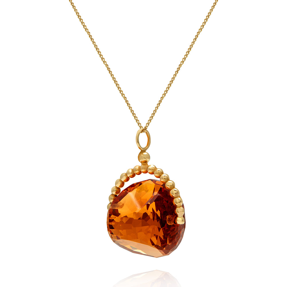 SPINNING PEACH MORGANITE PYRAMID NECKLACE