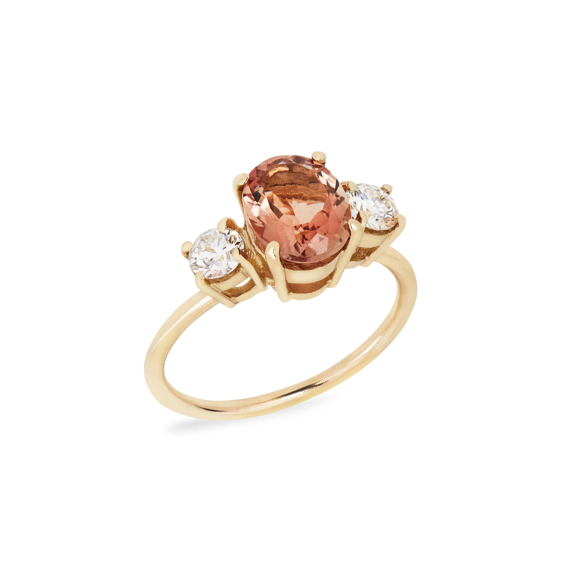 Sunstone & Diamond Trilogy Ring