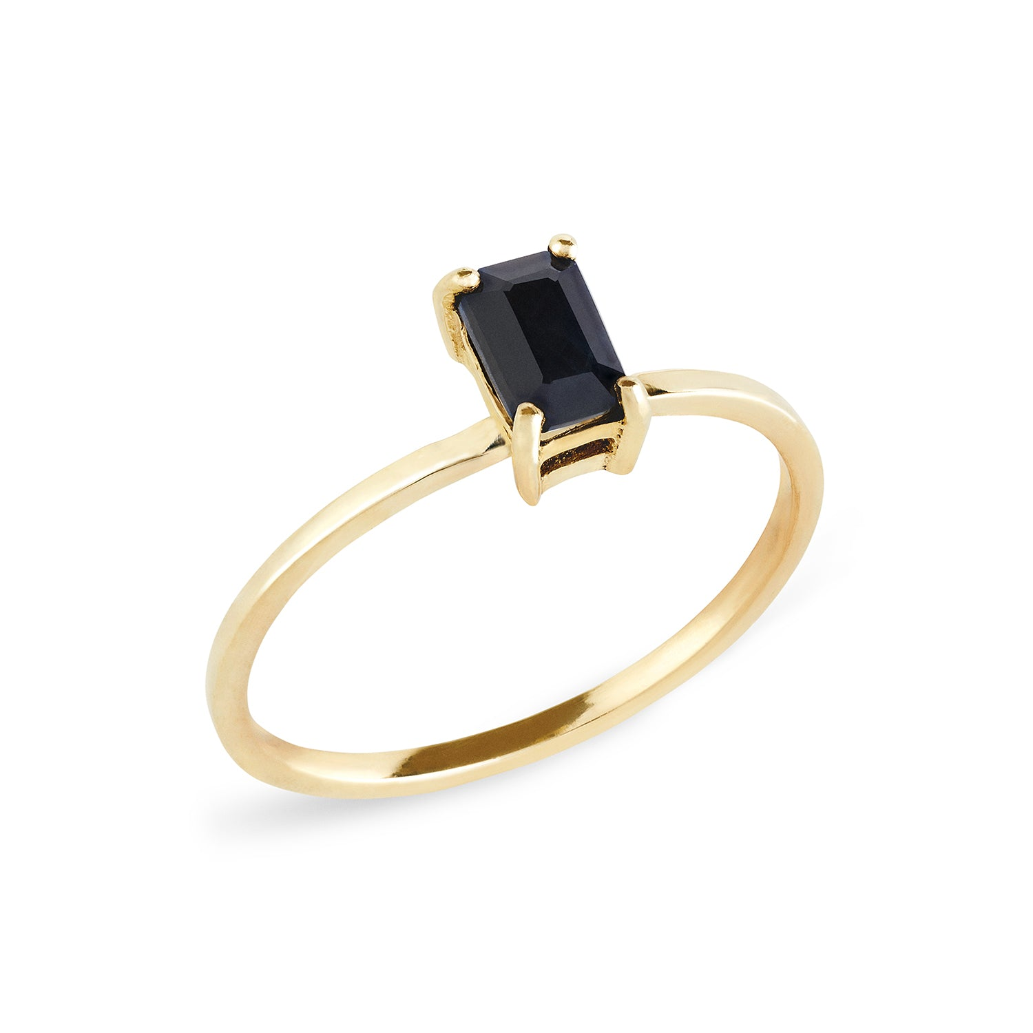 Black Sapphire Solitaire Ring