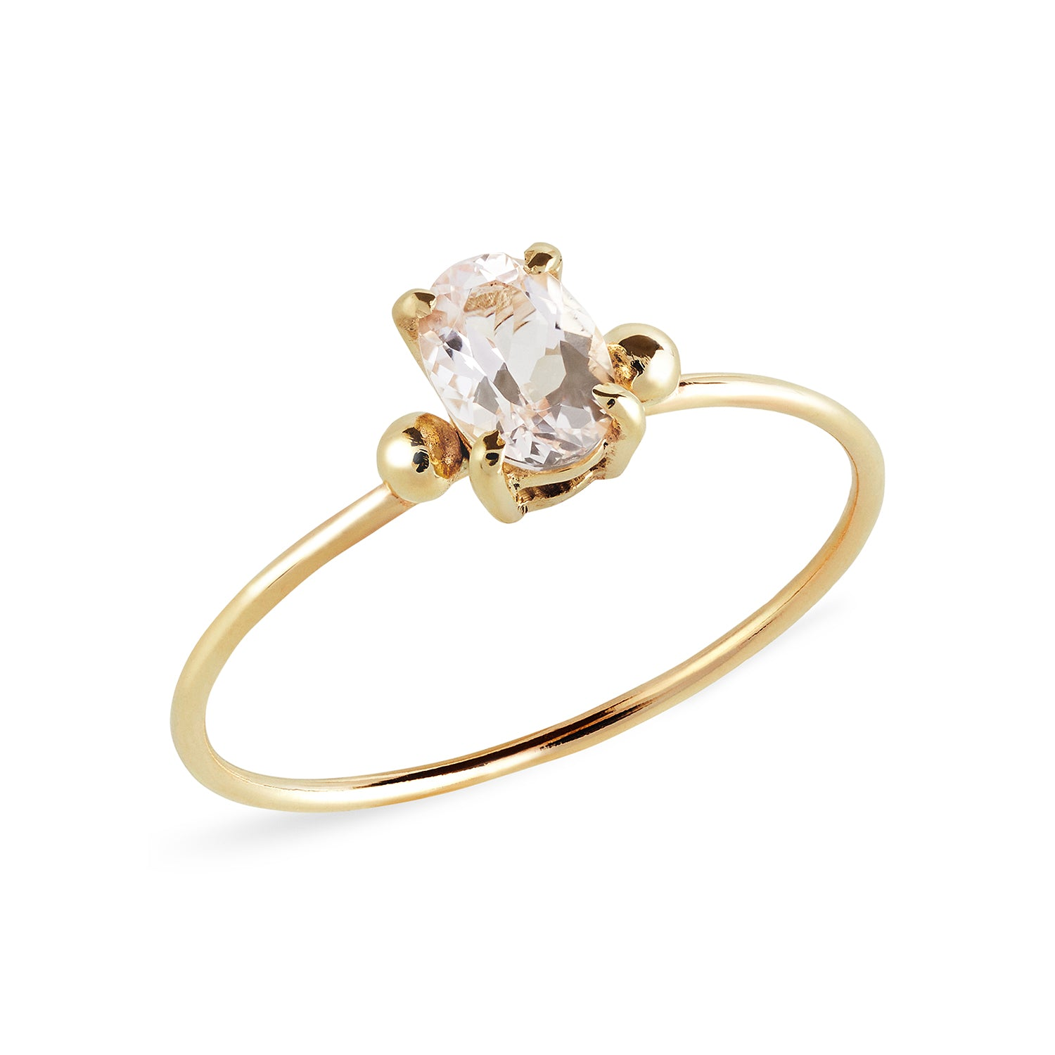 Morganite Oval Solitaire with Gold Bead Ring