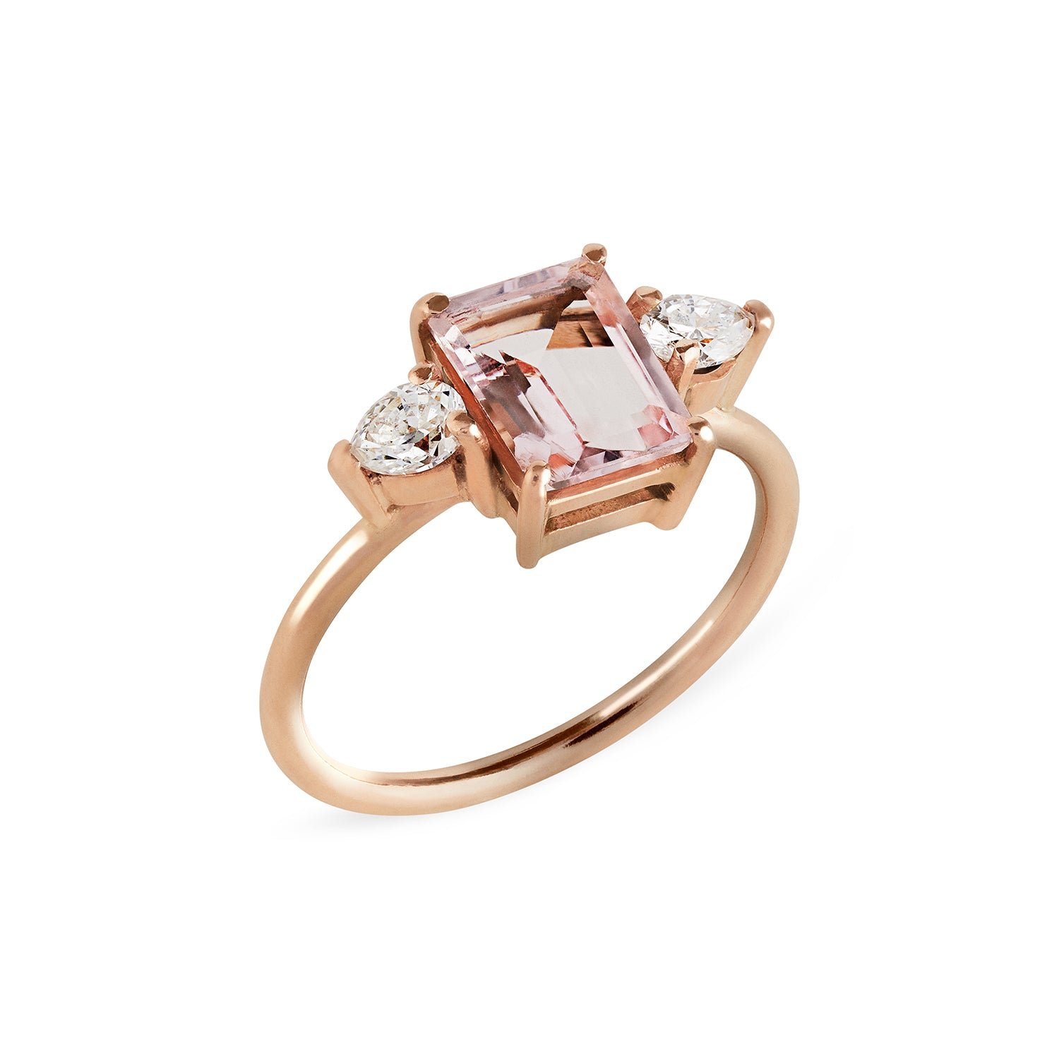 Morganite & Pear Diamond Trilogy RIng