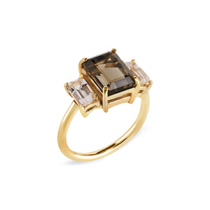 Smokey Quartz & Morganite Trilogy Ring