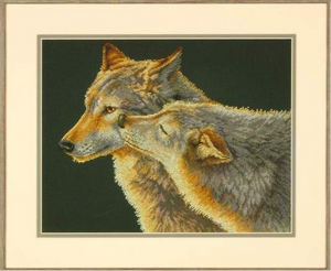'Wolf Kiss' Counted Cross Stitch Kit by Dimensions