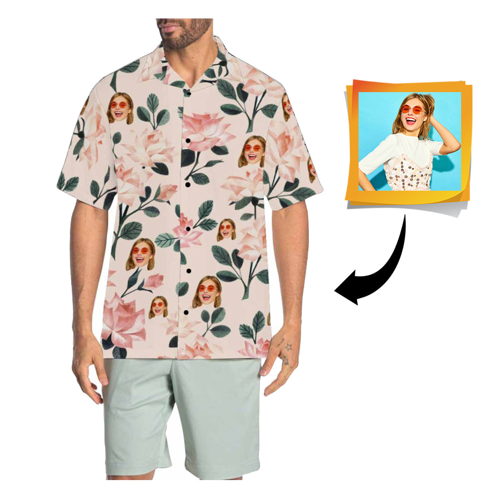 Custom Face Pink Men's All Over Print Hawaiian Shirt