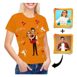 Custom Face Couple Women's All Over Print T-shirt