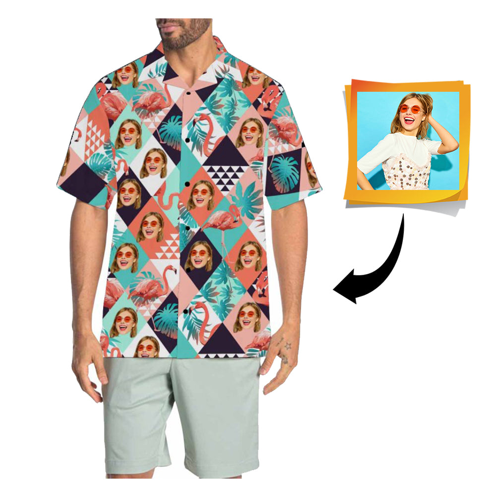 Custom Face Flamingo Men's All Over Print Hawaiian Shirt