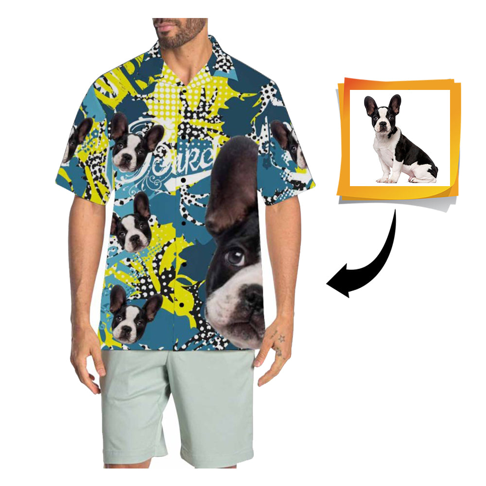 Custom Face Colorful Men's All Over Print Hawaiian Shirt