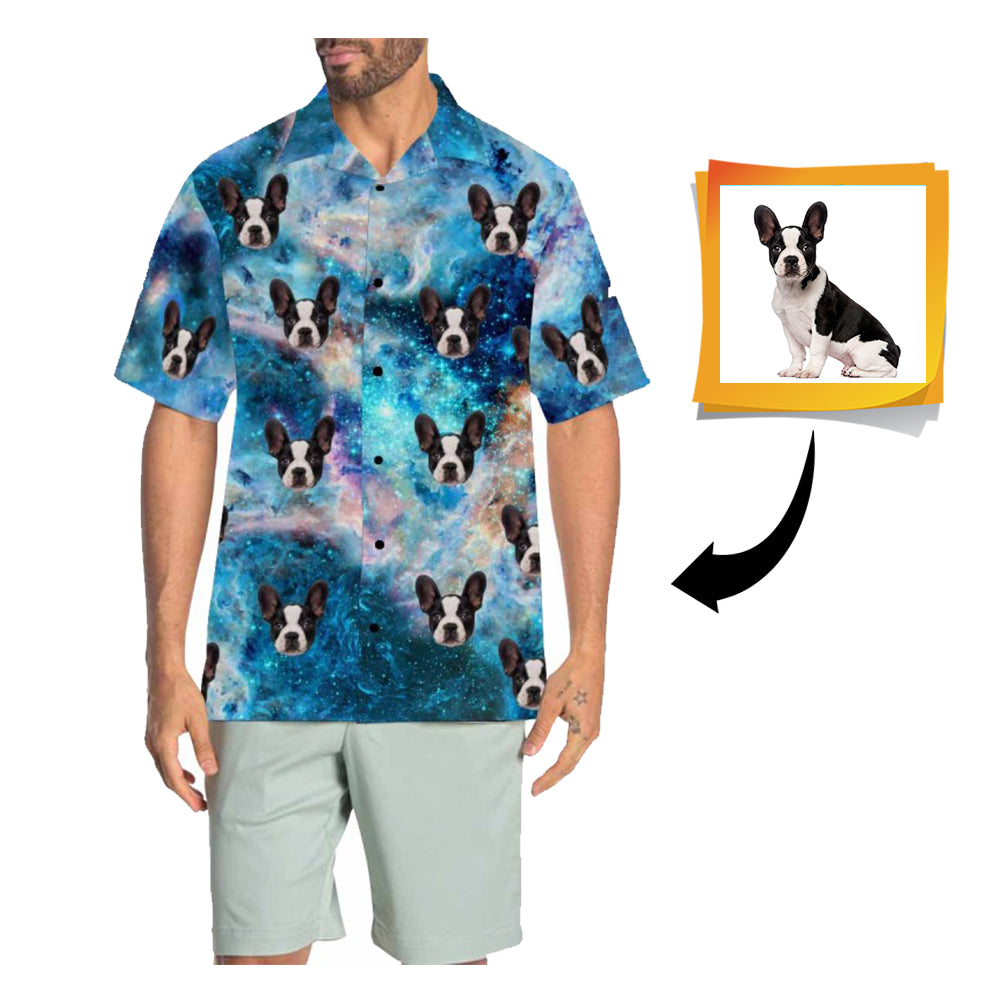 Custom Face Galaxy Men's All Over Print Hawaiian Shirt
