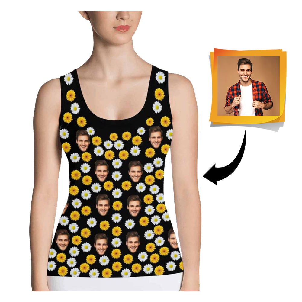 Custom Face Daisy Women's All Over Print Tank Top