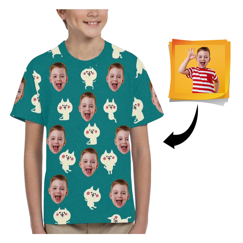 Custom Face Cat Kid's All Over Print T-shirt