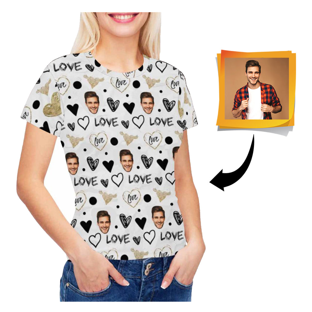 Custom Face Love Women's All Over Print T-shirt