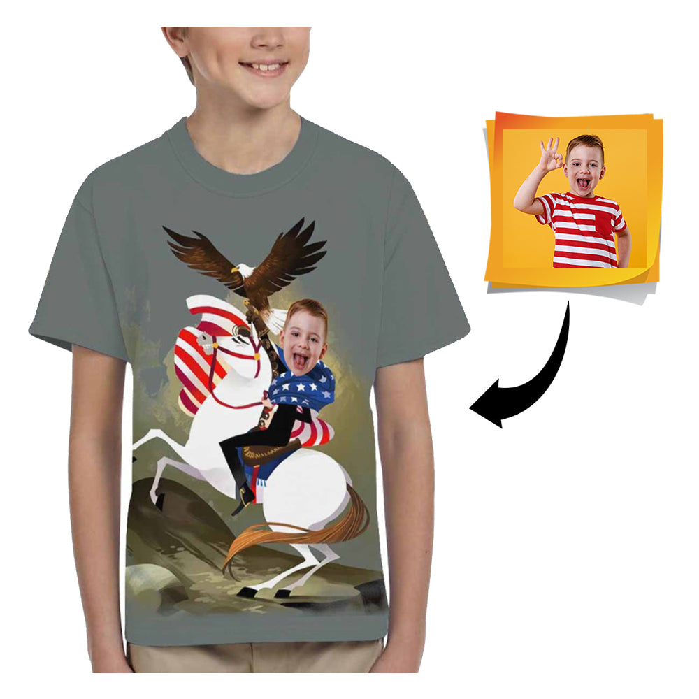 Custom Face Horse Kid's All Over Print T-shirt