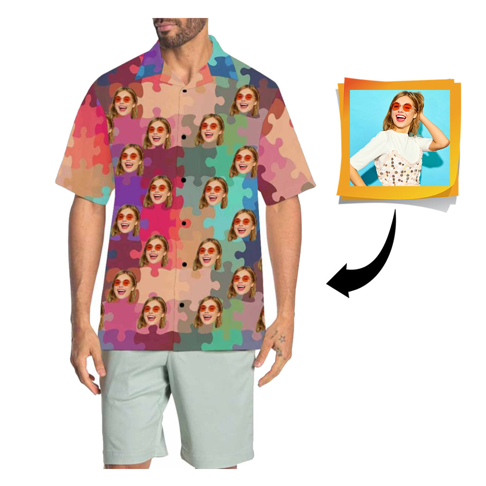 Custom Face Puzzle Men's All Over Print Hawaiian Shirt