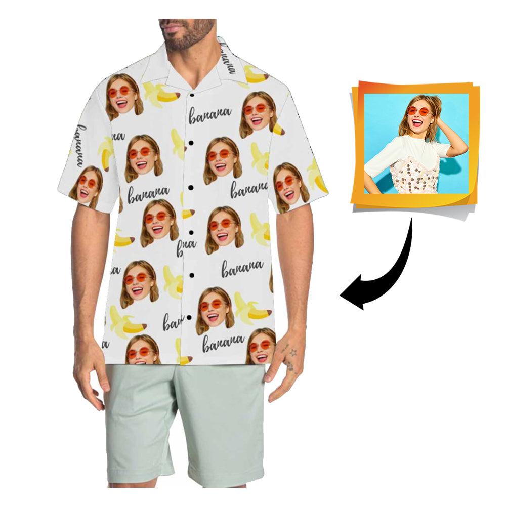 Custom Face Banana Men's All Over Print Hawaiian Shirt