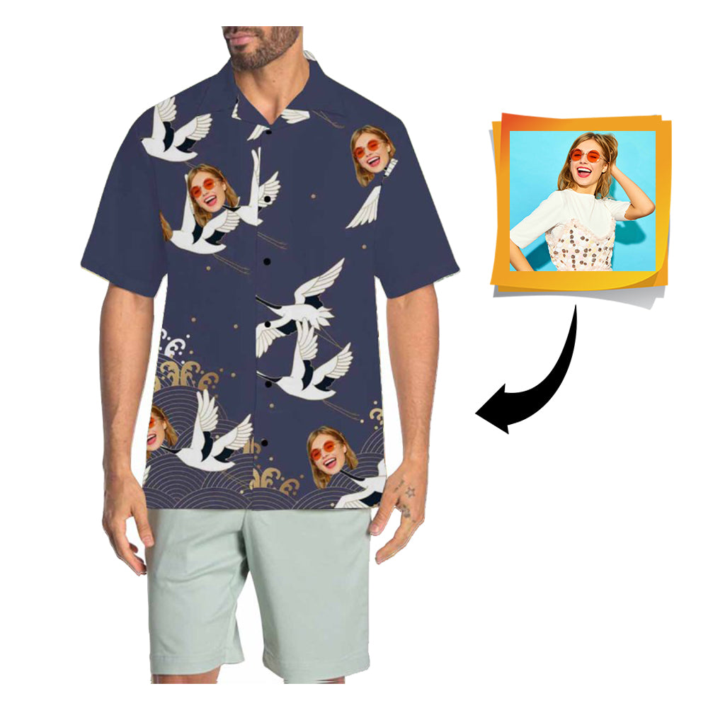 Custom Face Bird Men's All Over Print Hawaiian Shirt