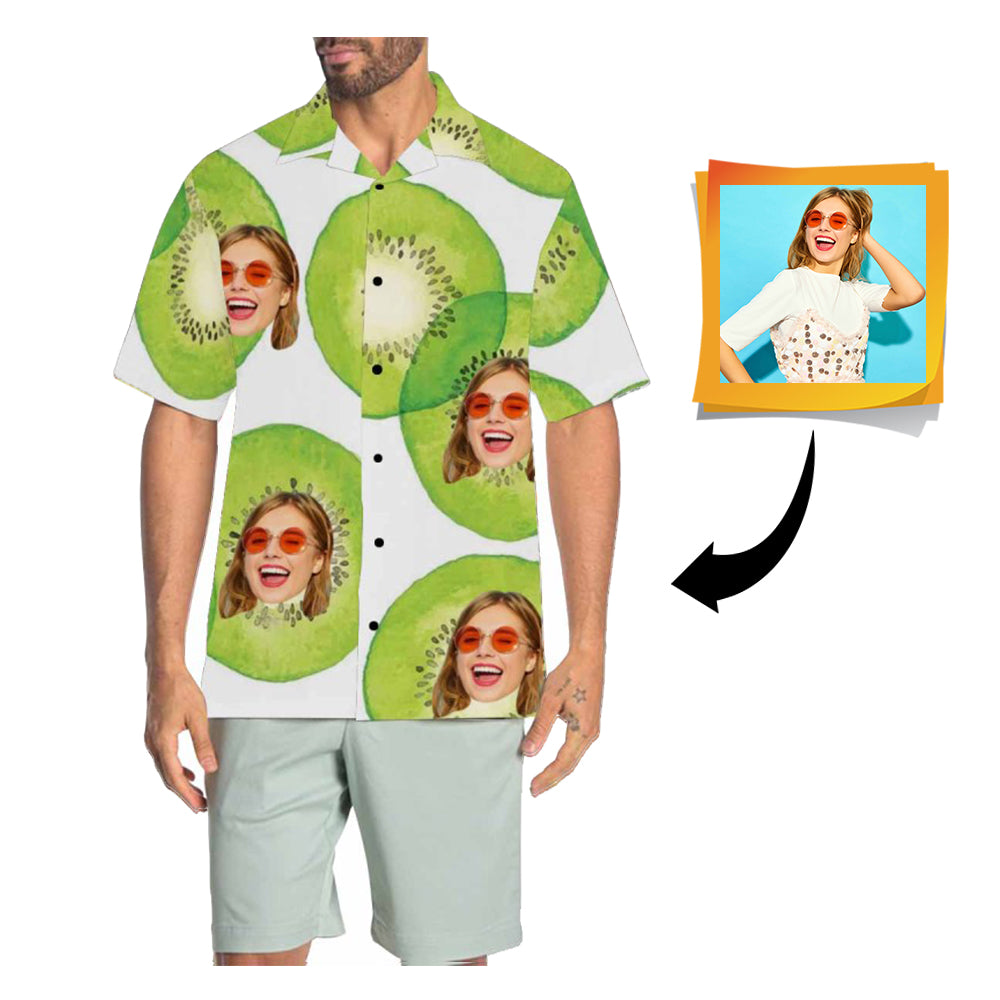 Custom Face Kiwi Men's All Over Print Hawaiian Shirt