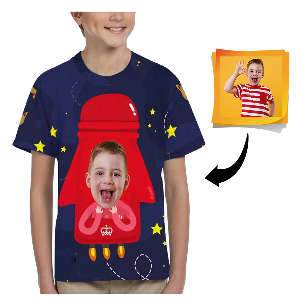 Custom Face Rocket Kid's All Over Print T-shirt