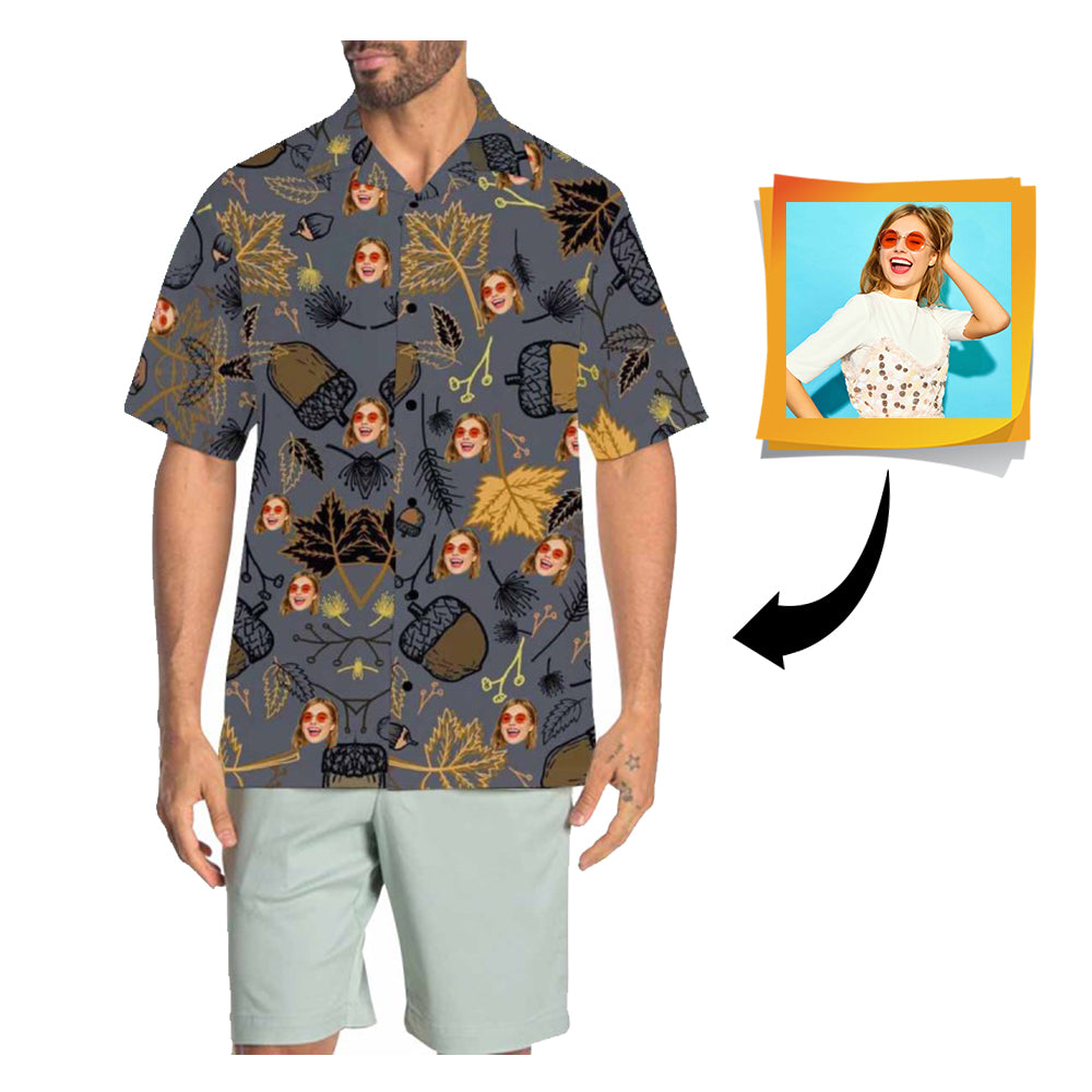 Custom Face Fall Men's All Over Print Hawaiian Shirt