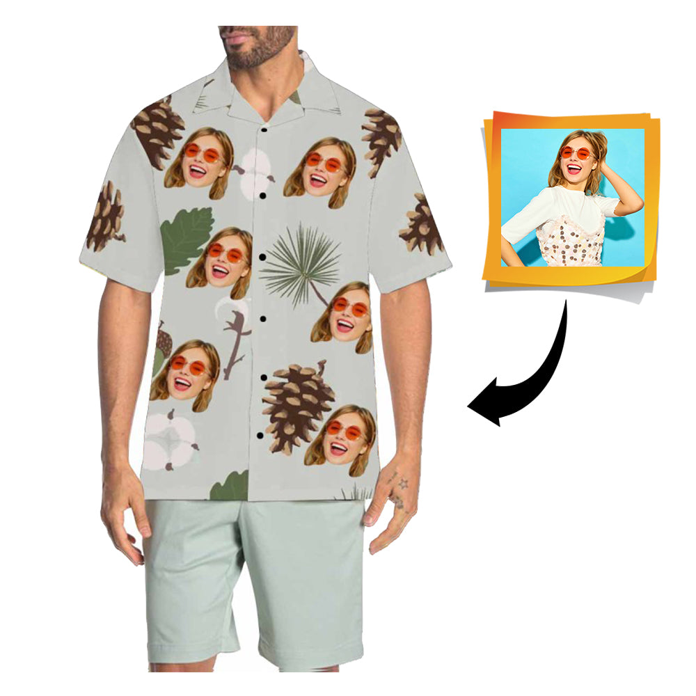 Custom Face Pinecone Men's All Over Print Hawaiian Shirt