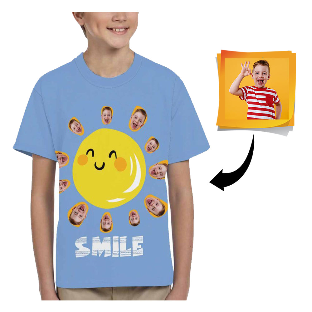 Custom Face Sun Kid's All Over Print T-shirt