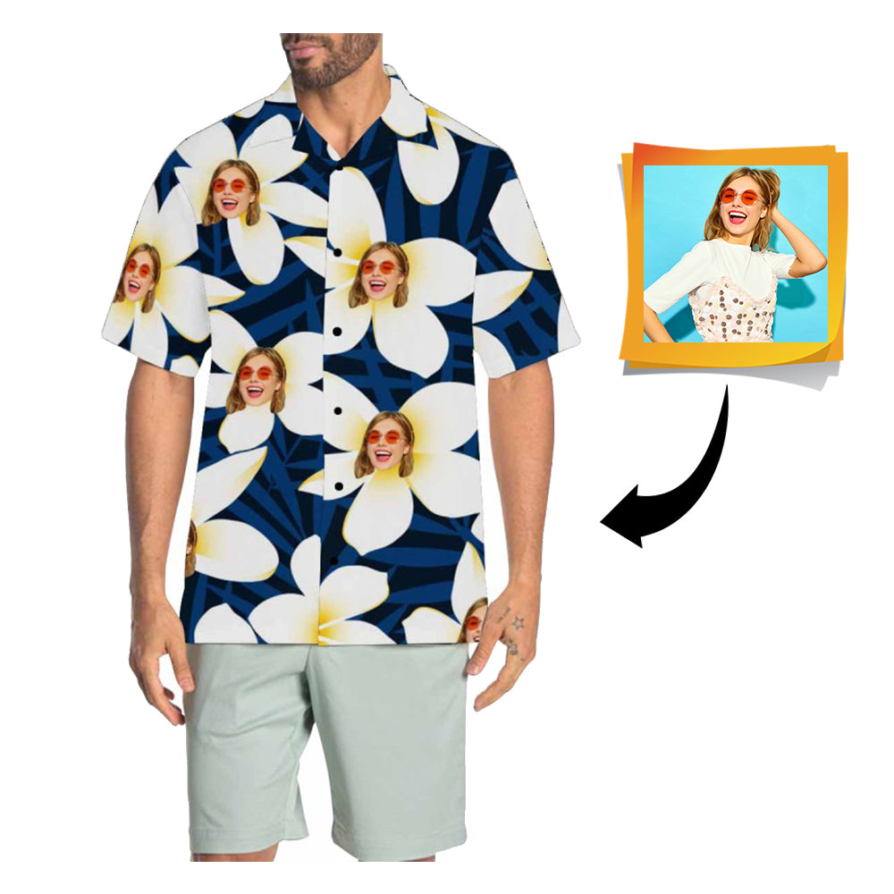 Custom Face Blue Men's All Over Print Hawaiian Shirt