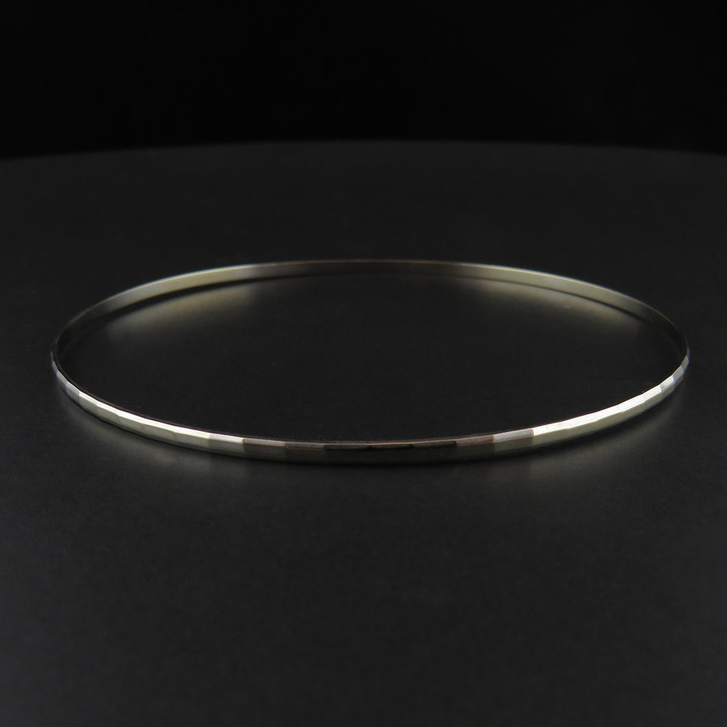 White Gold Faceted Pattern Bangle