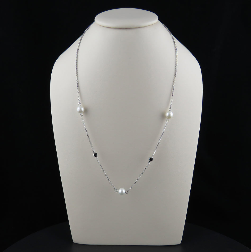 Black Sapphire and South Sea Pearl Chain Necklace