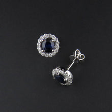 Load image into Gallery viewer, Sapphire and Diamond Earrings
