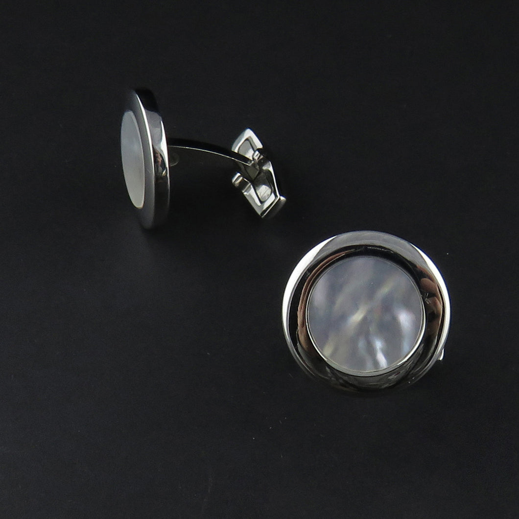 Round Mother Of Pearl Cufflinks