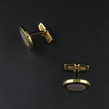Load image into Gallery viewer, Gold Plated, Round Mother of Pearl Cufflinks