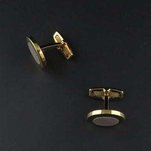 Gold Plated, Round Mother of Pearl Cufflinks