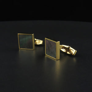 Square, Gold Plated Mother of Pearl Cufflinks