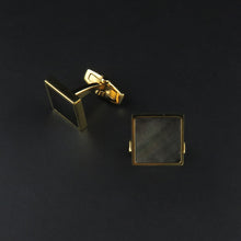Load image into Gallery viewer, Square, Gold Plated Mother of Pearl Cufflinks