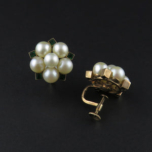 Cultured Pearl and Emerald Clip on Earrings