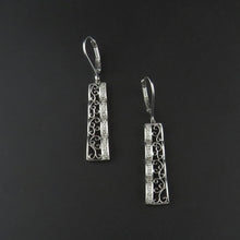 Load image into Gallery viewer, Filigree Diamond Drop Earrings