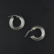 Load image into Gallery viewer, White Gold Patterned Hoop Earrings