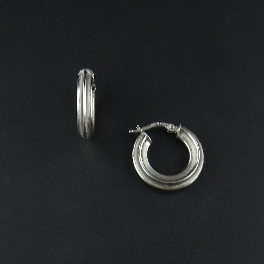 White Gold Patterned Hoop Earrings