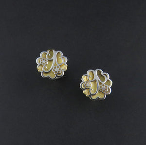 Two Toned Flower Earrings