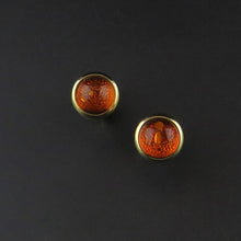 Load image into Gallery viewer, Gold Amber Stud Earrings